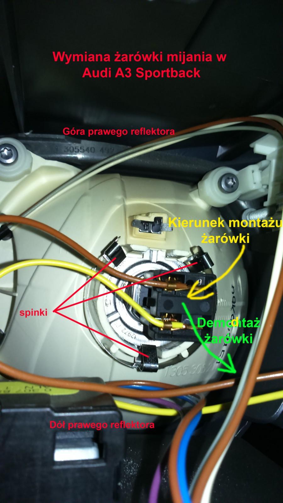 Wymiana żarówki Mijania W Audi A3 8p Sportback